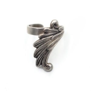 Vintage Sterling Silver Feather Ear Cuff - SIGNED